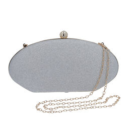 Silver Sparkly Clutch Bag with Detachable Shoulder Chain (Size 25x5x12 Cm)