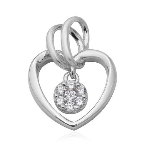 ELANZA Simulated Diamond Heart Pendant in Rhodium Overlay Sterling Silver