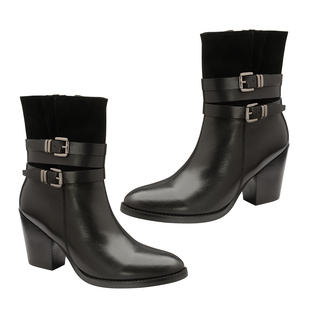 Ravel Black Shores Leather Heeled Ankle Boots