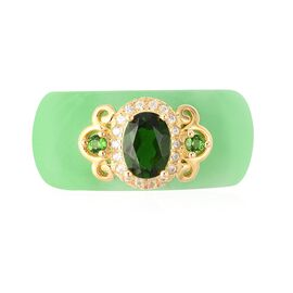 35.58 Ct Green Jade and Multi Gemstone Band Ring in Yellow Gold Plated Silver