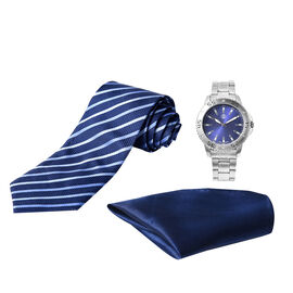 3 Piece Set - STRADA Japanese Movement Water Resistant Watch in Silver Tone and Dark Blue Dial, Suit