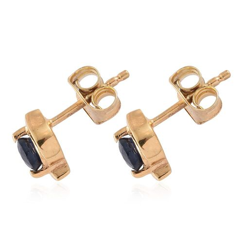 Kanchanaburi Blue Sapphire (Rnd) Stud Earrings (with Push Back) in 14K Gold Overlay Sterling Silver 0.500 Ct.