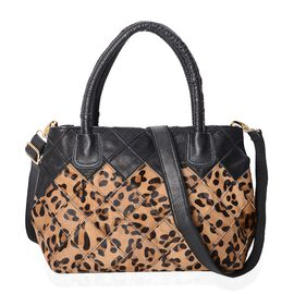 Limited - 100% Genuine Leather Leopard Pattern Tote Bag with Detachable Shoulder Strap (Size 30x11x2