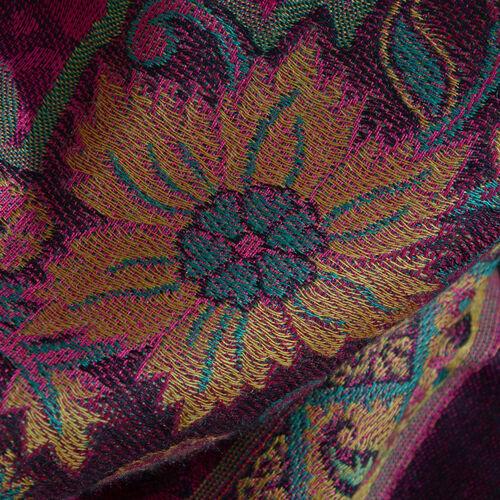 100% Modal Dark Pink and Multi Colour Jacquard Scarf (Size 190x70 Cm)