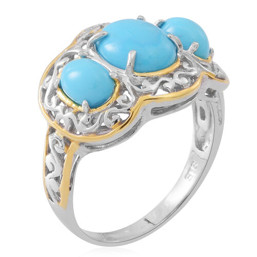 Arizona Sleeping Beauty Turquoise (Ovl 2.50 Ct) 3 Stone Ring in Rhodium and Gold Overlay Sterling Silver 4.000 Ct.