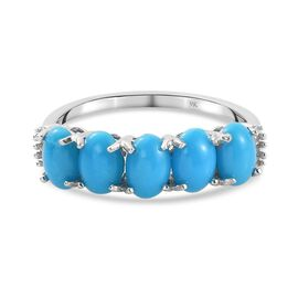 9K White Gold AA Sleeping Beauty Turquoise and Diamond Ring 1.63 Ct.