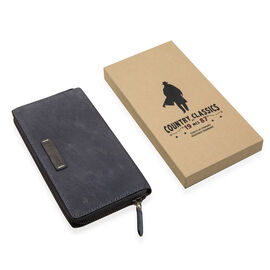 MCS Country Classics: 100% Genuine Leather Wallet - Dark Blue and Brown