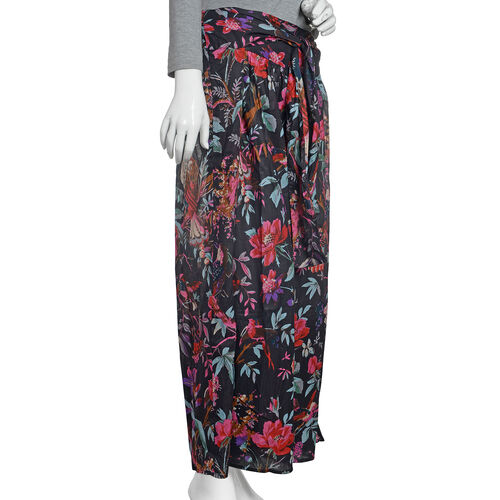 100% Cotton Black, Fuchsia and Multi Colour Flower, Leaves and Birds Pattern Palazzo Trouser (Size 95x40 Cm)