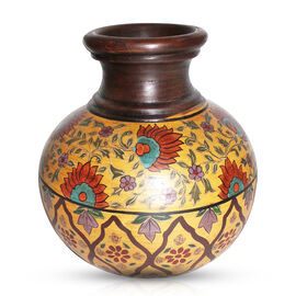 Green, Yellow, Chocolate and Mughal Multi Colour Beautifully Hand-Painted Terracotta Decorative Pot (Size 25 Cm)