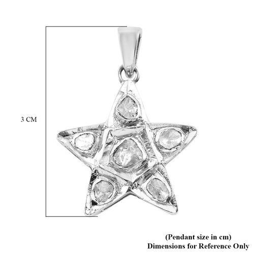 Artisan Crafted Polki Diamond Star Pendant with Chain (Size 18) in Platinum Overlay Sterling Silver 0.25 Ct.