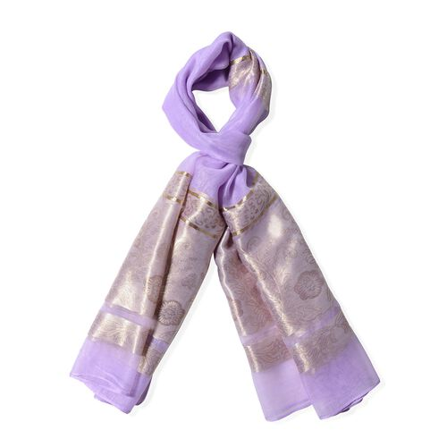 Purple Colour Scarf with Plum Blossom Flower and Golden Stripe Pattern (Size 190x75 Cm)