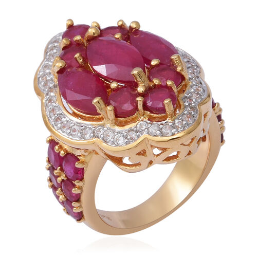 African Ruby (Mrq), Natural Cambodian White Zircon Ring in Yellow Gold Overlay Sterling Silver 10.640 Ct., Silver Wt. 8.30 Gms