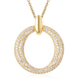 Simulated Diamond (Rnd) Pendant With Chain (Size 20) in Gold Plated Stainless Steel