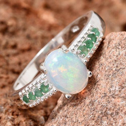 Ethiopian Welo Opal (Ovl 1.15 Ct), Kagem Zambian Emerald Ring in Sterling Silver 1.250 Ct.