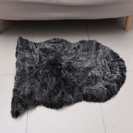 Premium Faux Sheep Skin Rug (Size 60x100 Cm) - Black and White
