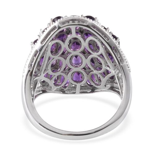 Amethyst (Ovl) Cluster Ring in Platinum Overlay Sterling Silver 7.750 Ct.