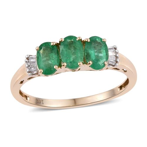 14K Y Gold AAA Boyaca Colombian Emerald (Ovl), Diamond (I2/G-H) Ring 1.250 Ct.