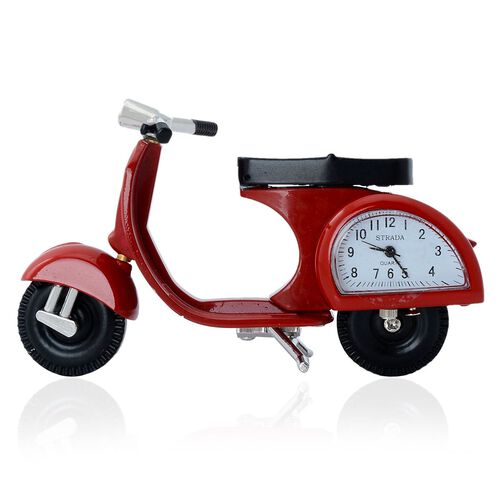STRADA Japanese Movement White Dial Water Resistant Decorative Red Scooter Table Clock in Silver Tone