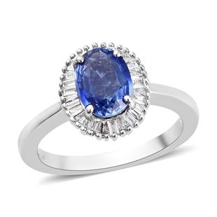 RHAPSODY 950 Platinum AAAA Royal Ceylon Sapphire and Diamond (VS/E-F) Halo Ring 1.75 Ct, Platinum wt