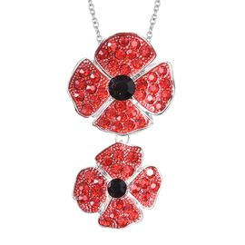 DOD - TJC Poppy Design - Red and Black Austrian Crystal (Rnd) Enamelled Poppy Flower Pendant with Ch