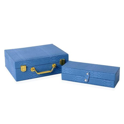 Monster Deal- Set of 2 - Multi Purpose Two-Tier Dragon Skin Pattern Jewellery Box in Light Blue Colour