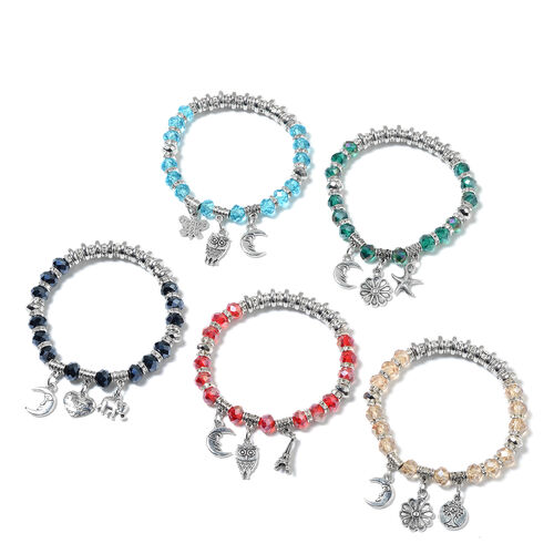 5 Piece Set - Multi Colour Beads Bracelet (Size 7.5) with Charm in Silver Tone