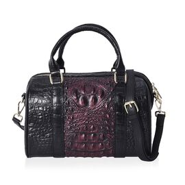 100% Genuine Leather Croc Embossed Tote Bag (Size 27x14x19 Cm) - Black and Maroon