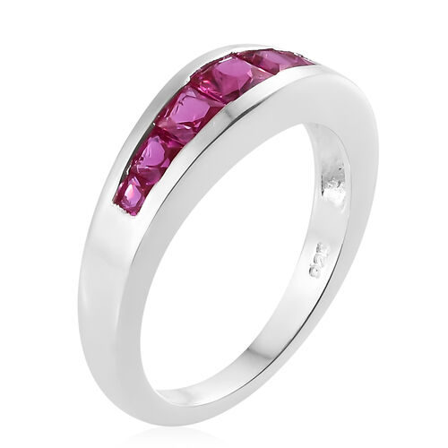 Lab Grown Ruby (Princess) Half Eternity Ring in Sterling Silver 1.000 Ct.