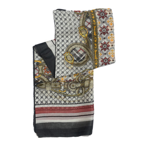 100% Mulberry Silk Black, Red and Multi Colour Floral Pattern White Colour Scarf (Size 180x100 Cm)