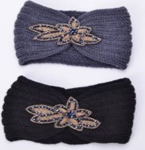 Black and Grey Colour Beads Floral Pattern Hairbands (Size 10x22 Cm)
