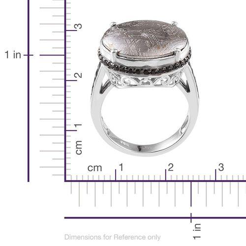 Meteorite (Rnd 19.25 Ct), Boi Ploi Black Spinel Ring in Platinum Overlay Sterling Silver 20.500 Ct.