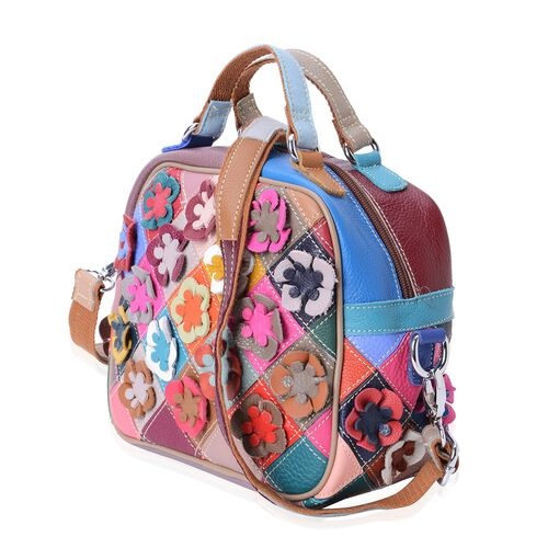 100% Genuine Leather Multi Colour 3D Flower Adorned Tote Bag with Shoulder Strap (Size 22x19x12 Cm)