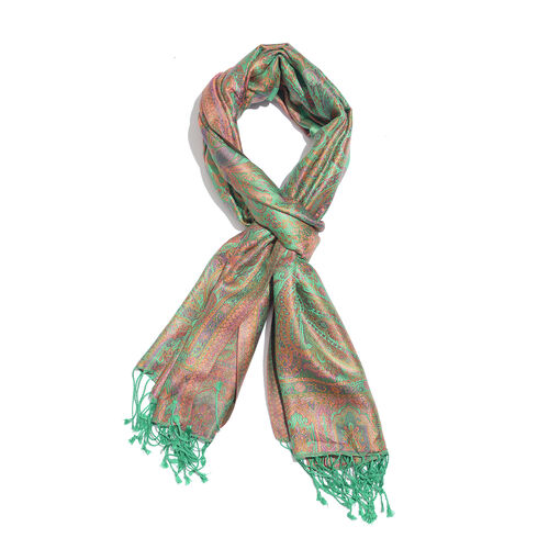 SILKMARK - 100% Superfine Silk Green, Pink and Multi Colour Paisley Pattern Jacquard Jamawar Scarf with Tassels (Size 180X70 Cm)