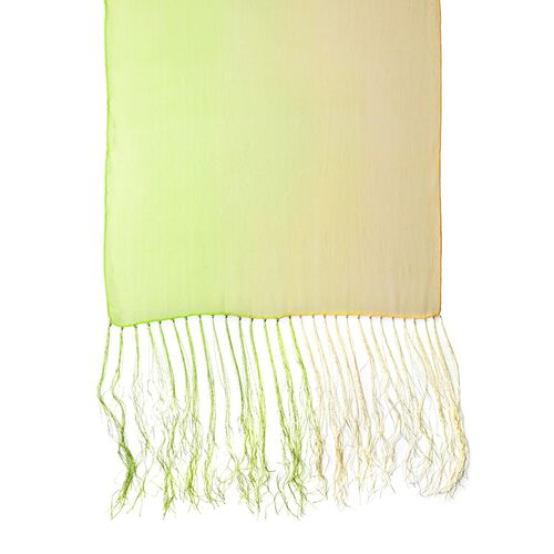 100% Mulberry Silk Green and Light Yellow Colour Scarf with Long Tassels (Size 160X50 Cm)