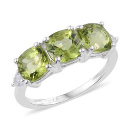 Hebei Peridot (Cush), Natural Cambodian Zircon Ring in Sterling Silver 3.250 Ct.