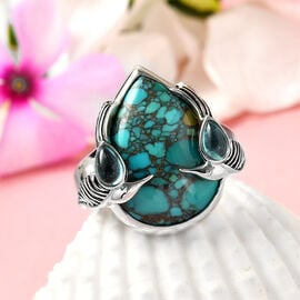 Freshened Turquoise ,  Blue Green Apatite  Ring in Rhodium Overlay Sterling Silver 8.85 ct,  Sliver Wt. 6.5 Gms  8.850  Ct.