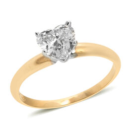 New York Close Out 1 Carat Diamond Solitaire Heart Ring in 14K Gold 1.83 Grams EGL Certified
