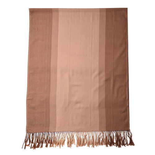 Brown Gradient Cotton-Blend Scarf with Tassels (73x180cm)