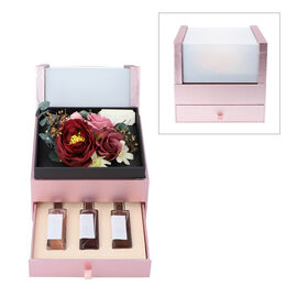 The 5th Season 2 Layer Flower Box With 3 Bottles Of Fragrance Spray - Red
