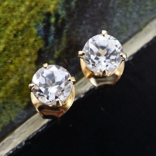 9K Yellow Gold 1 Carat Natural Cambodian Zircon Solitaire Stud Earrings (with Push Back)