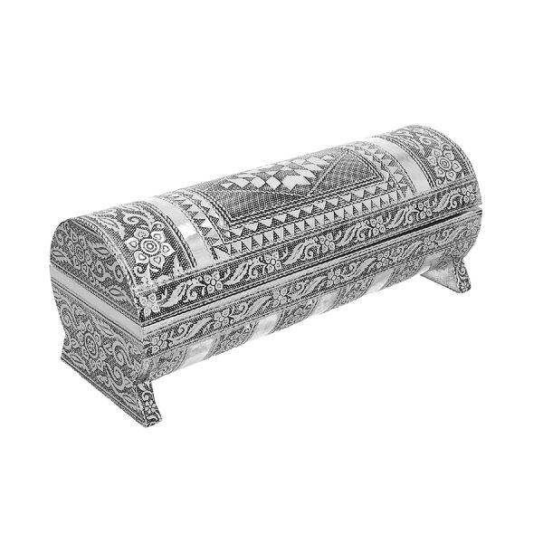 Hand Embossed Abstract Pattern Round Wooden Bangle Box with Scratch Protection Interior (25X10X9 CM)
