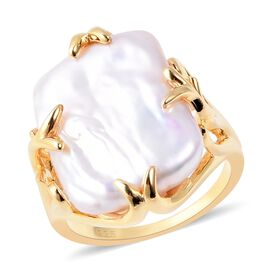 Keshi Pearl Solitaire Ring in Gold Plated Silver 4.8 Grams