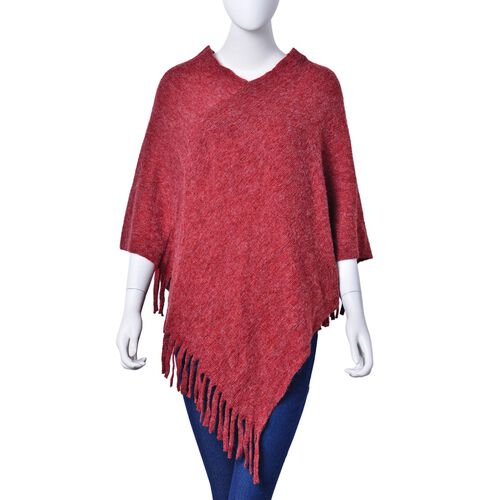 New Autumn / Winter Season - Red Colour Knitted Poncho with Fringes (Free Size)