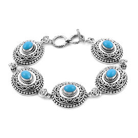 Exclusive Edition - AAA Arizona Sleeping Beauty Turquoise Bracelet in Sterling Silver 4.50 Ct, Silve