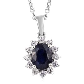 One Time Deal- AAA Masoala Sapphire (OVAL 9X7 mm),Natural Zircon Platinum Overlay Sterling Silver Pe