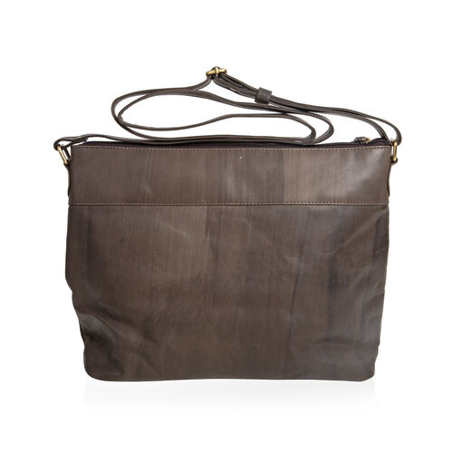 MCS Country Classics: 100% Genuine Leather Handbag - Charcoal