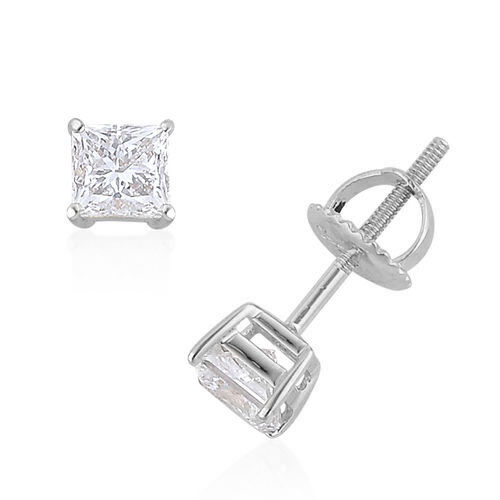 New York Close Out Deal- 14K White Gold EGL Certified  Princess Cut Diamond (I1/I2/G-H) Earrings (with Screw Back) 1.000 Ct.