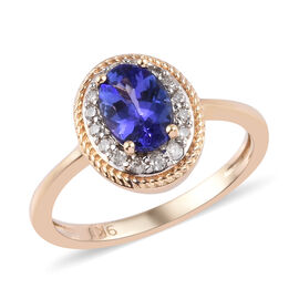 9K Yellow Gold AAA Tanzanite and Diamond Ring 1.00 Ct.