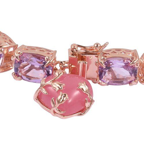 Rose De France Amethyst (Cush), Pink Jade Bracelet (Size 6.5) in Rose Gold Overlay Sterling Silver 47.750 Ct. Silver wt 18.00 Gms.
