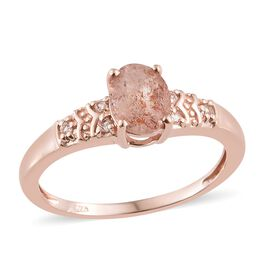 Masai Sunstone (Ovl 1.40 Ct), White Topaz Ring in Rose Gold Overlay Sterling Silver 1.500 Ct.